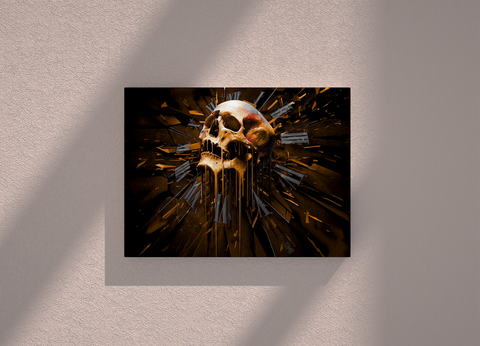 Skull with clock canvas