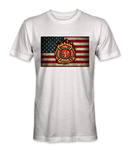 Firefighter badge on top of the American flag t-shirt