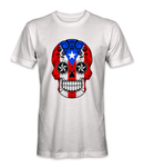 Puerto Rico country flag on a skull t-shirt