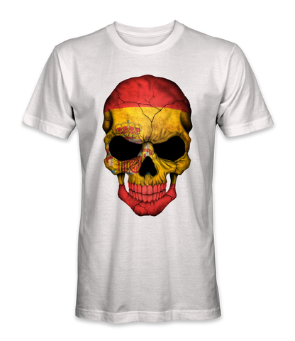 Spain country flag on a skull t-shirt