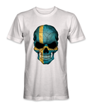 Sweden country flag on a skull t-shirt