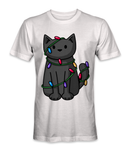 Cat with Christmas lights t-shirt