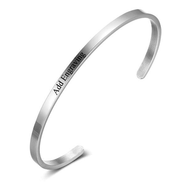 Personalized Engraved Bangle silver