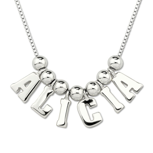 Capital Letter name necklace in silver