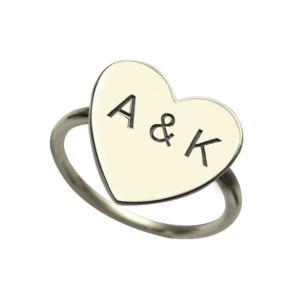 Initials Heart Ring in Sterling Silver