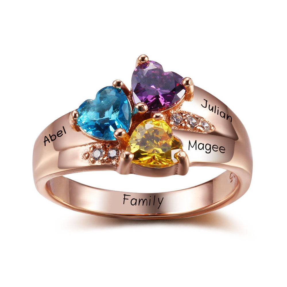3 Stone Mother Ring in Rose Gold Plating