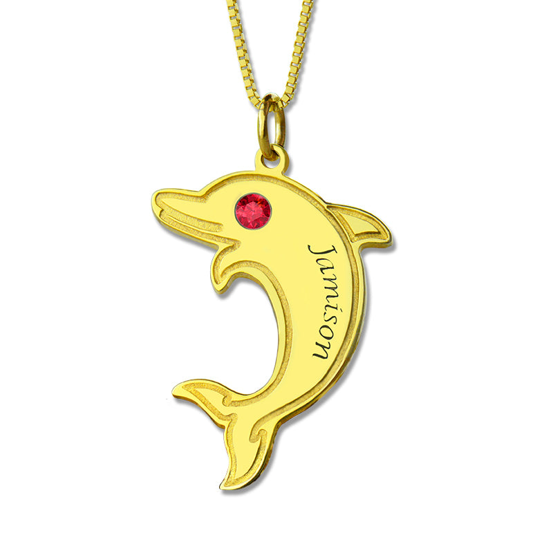 Dolphin necklace with birthstone
