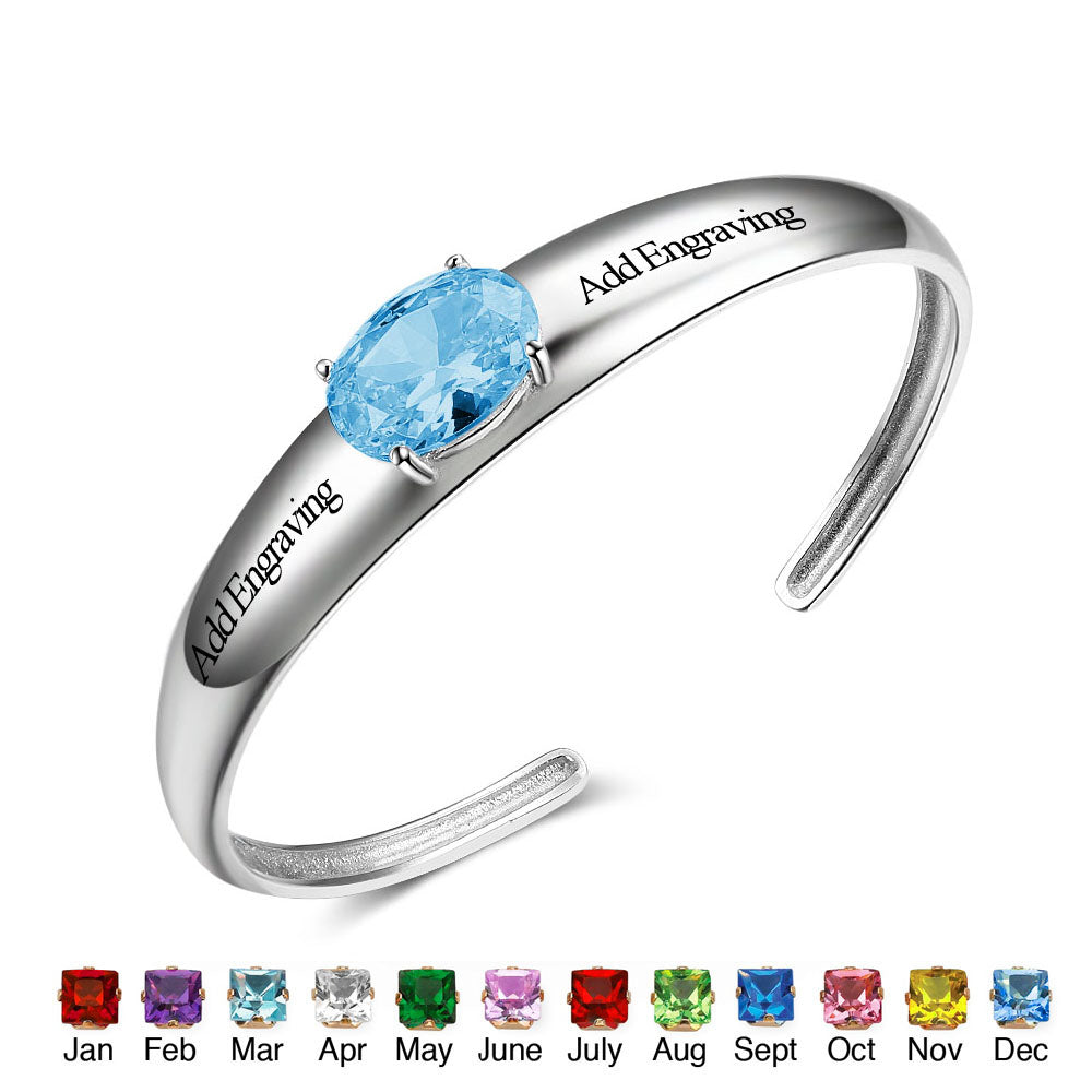 Personalized Bangle with Birthstone