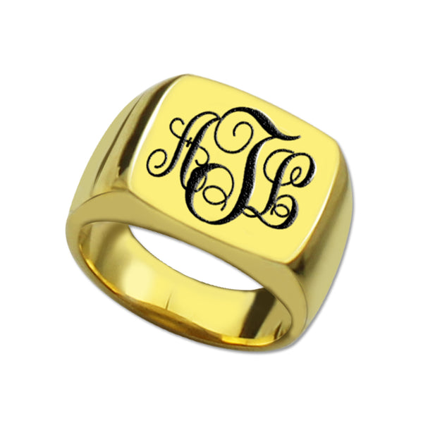 Three Initial Monogram Square Ring in Gold Plating