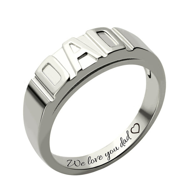 Personalized Ring in Sterling Silver for Dad