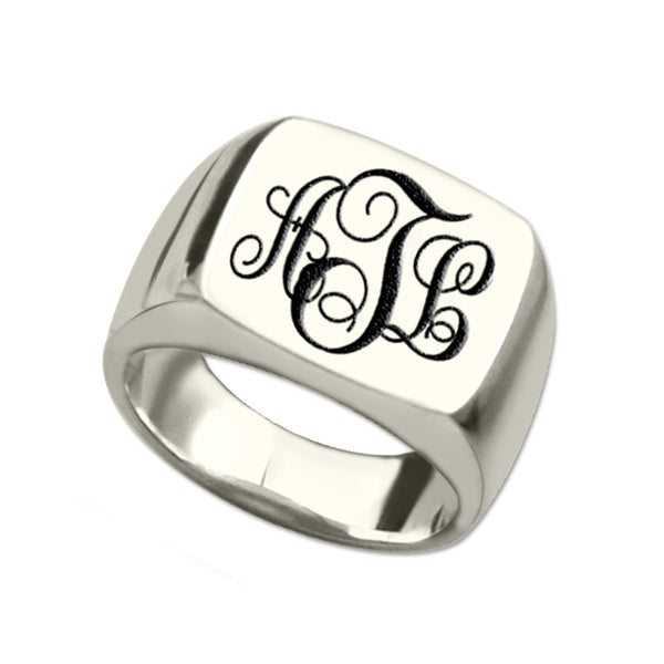 Three Initial Monogram Square Ring in Sterling Silver