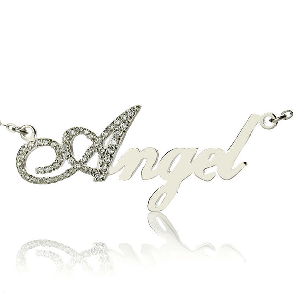 Silver Personalized Name Necklace with Diamond