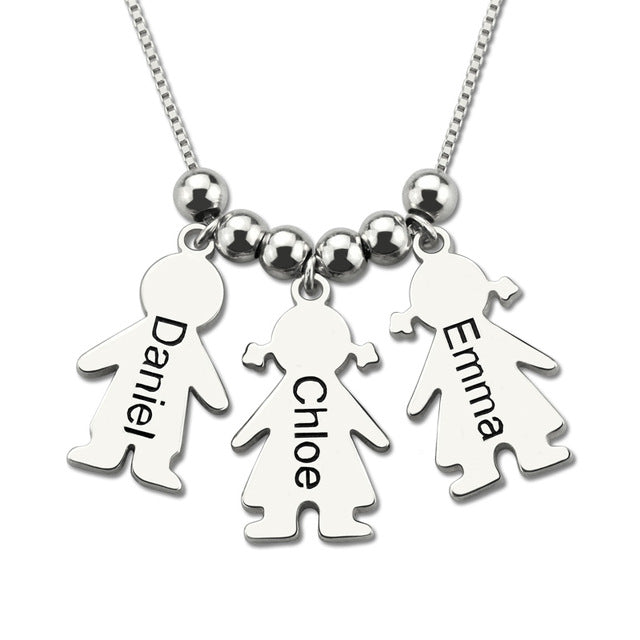 mother necklace with children name charms
