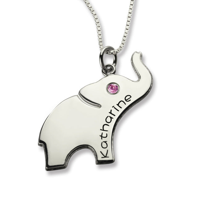 Elephant Name Necklace