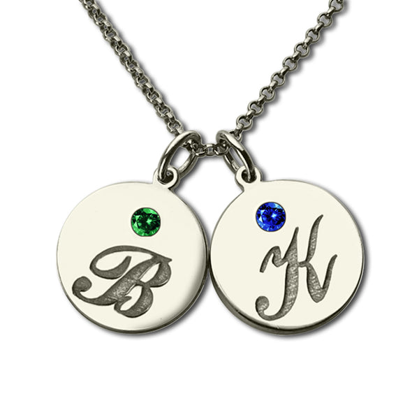 2 Initial Necklace With Birthstone