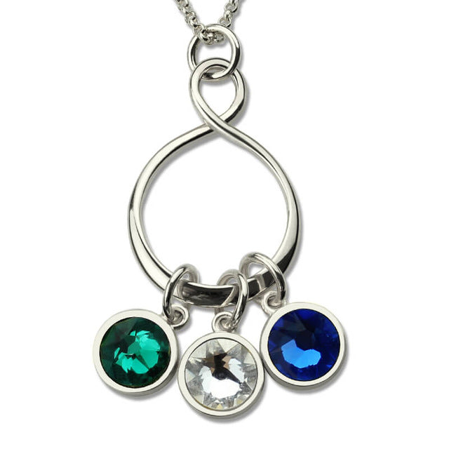 Infinity Knot Necklace with Birthstones