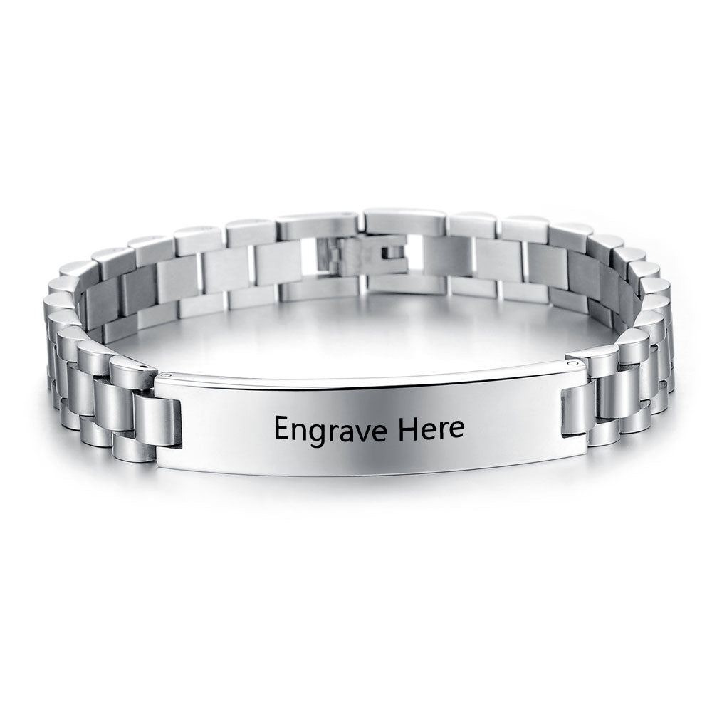Men's Titanium Steel Personalized Engrave Bracelets