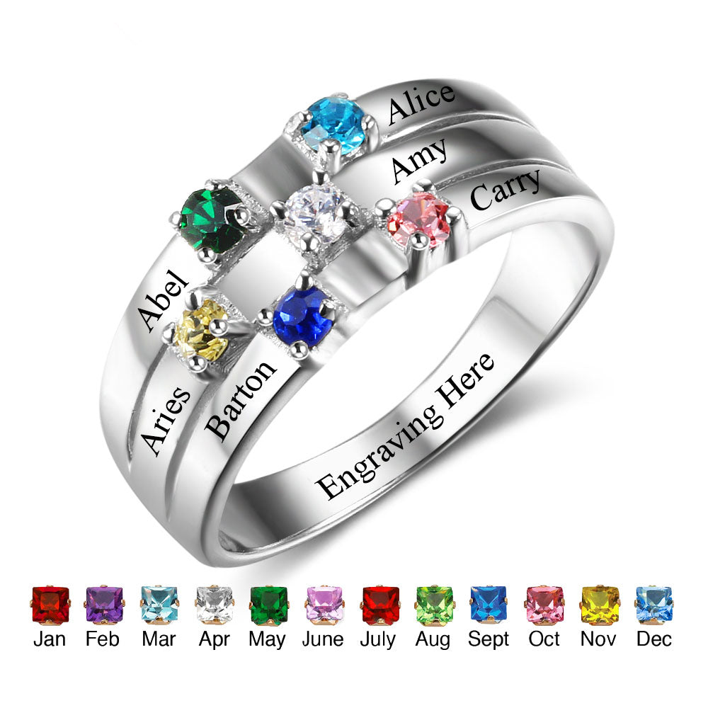 Family/Friendship Birthstone Ring with Engraving Names