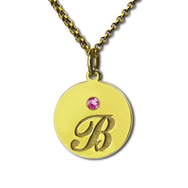 14K Gold 2 Initial Necklace With Birthstone