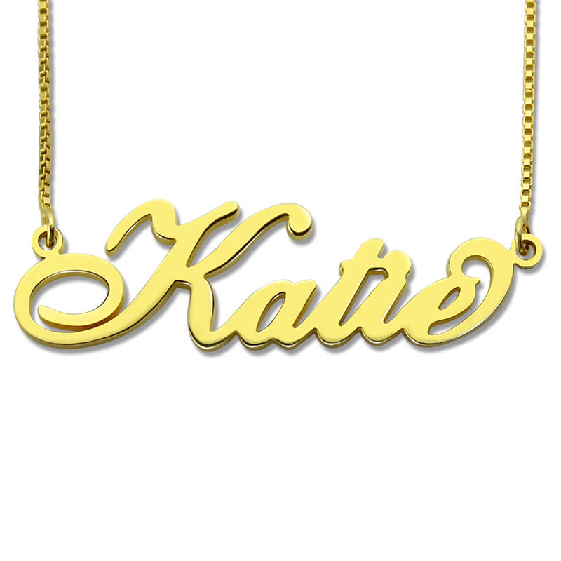 14K Gold Name Plate Necklace with Customized Design