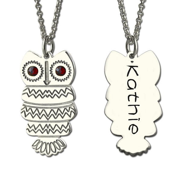 Owl Necklace With Birthstone & Name