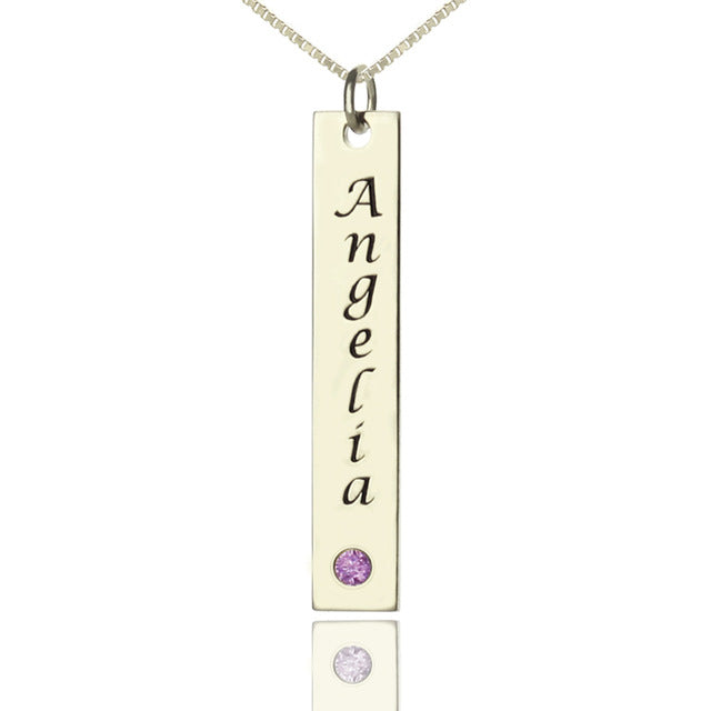 vertical bar necklace with birthstone