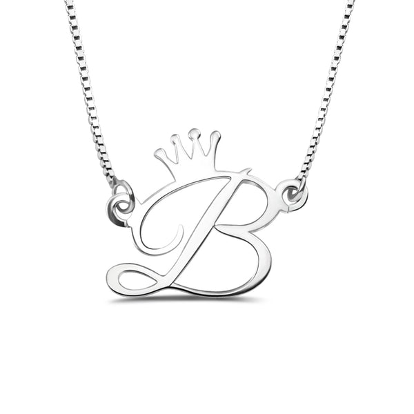 initial necklace with crown
