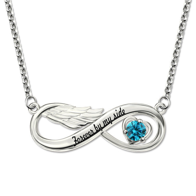 Angel Wing Necklace with Birthstone