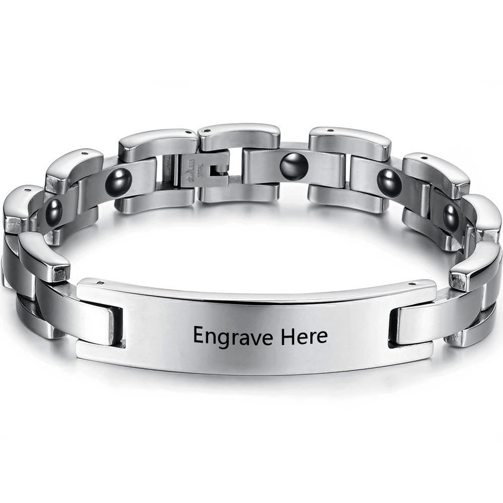 Men's Engraved Stainless Steel Bracelet