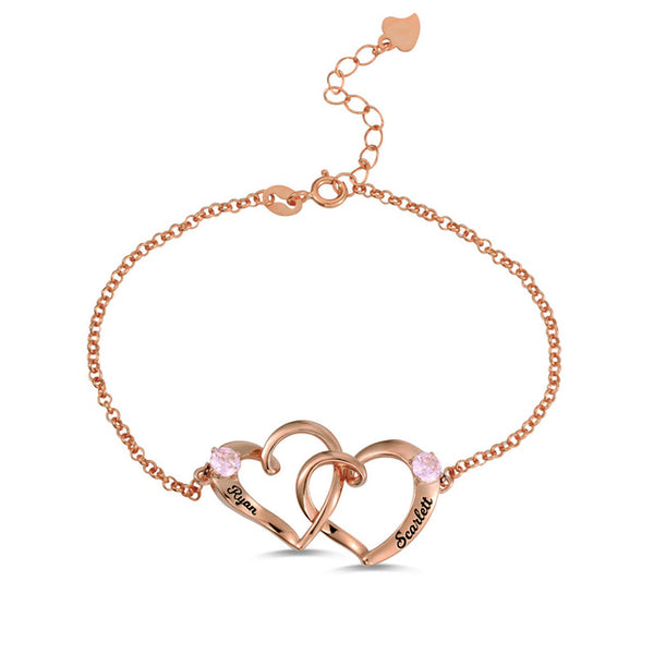 Interlocking Heart Bracelet with Rose Gold Plating