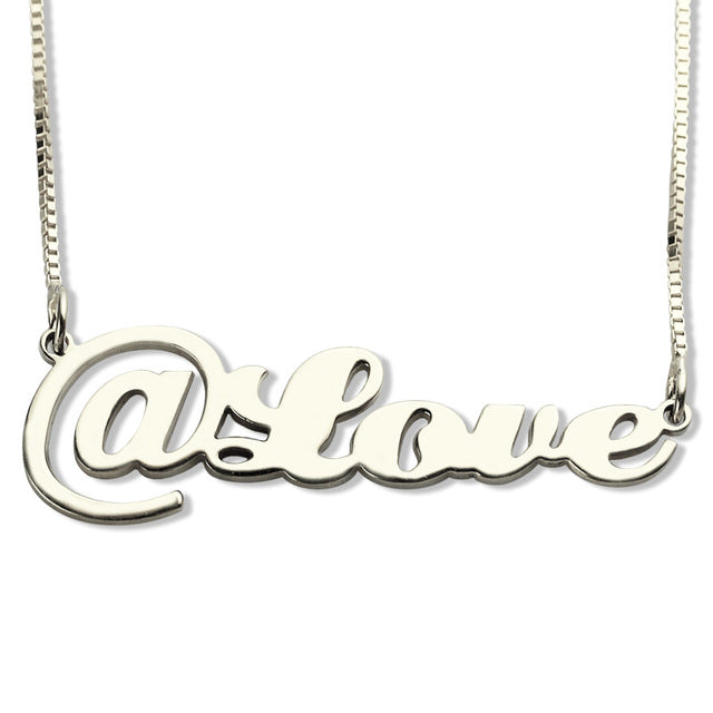 Personalized Script @ Name Necklace Sterling Silver