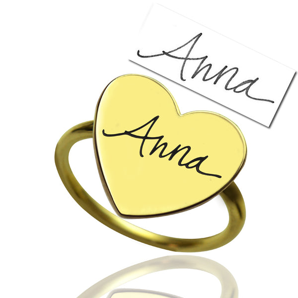 Heart  Signet Name Ring in 14K Gold