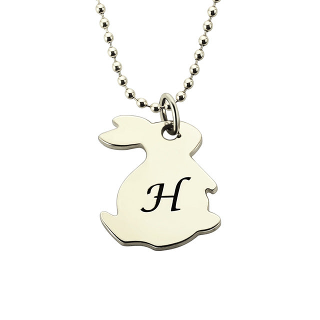 Sterling Silver Initial Necklace - Rabbit