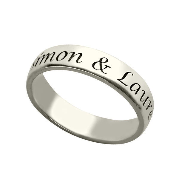 Engraved Name Ring in Sterling Silver