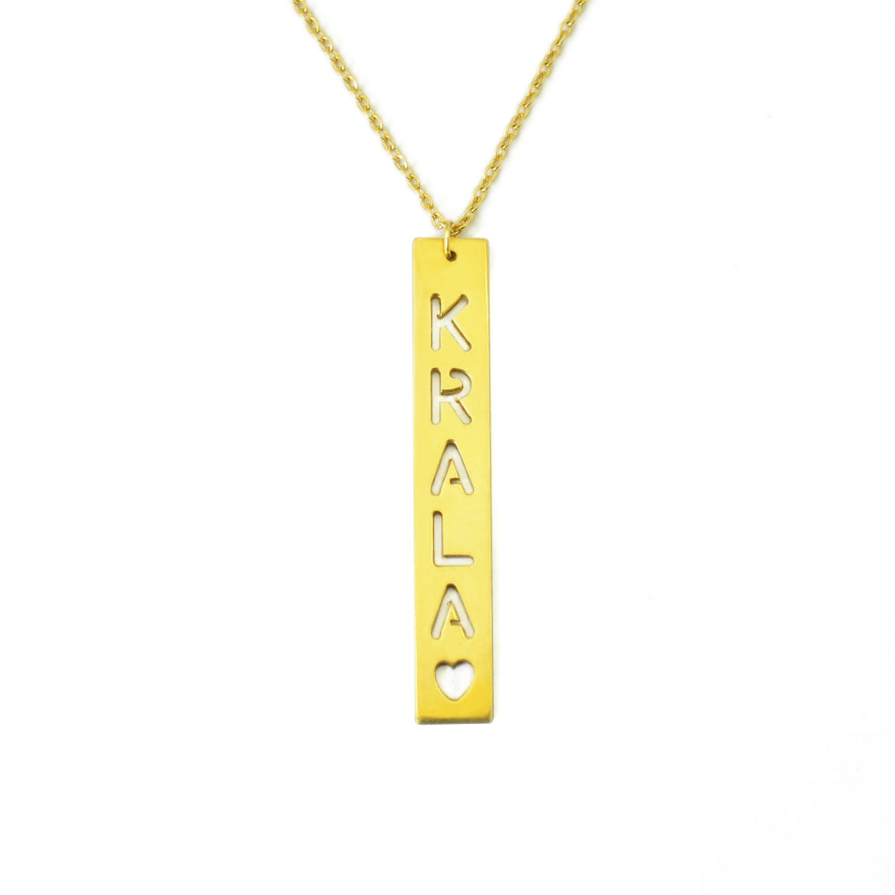 Personalized Cut Out Bar Necklace in 14K Gold