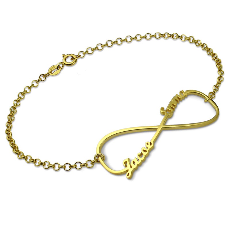 Infinity Symbol Bracelet with 2 Names in Gold Plating