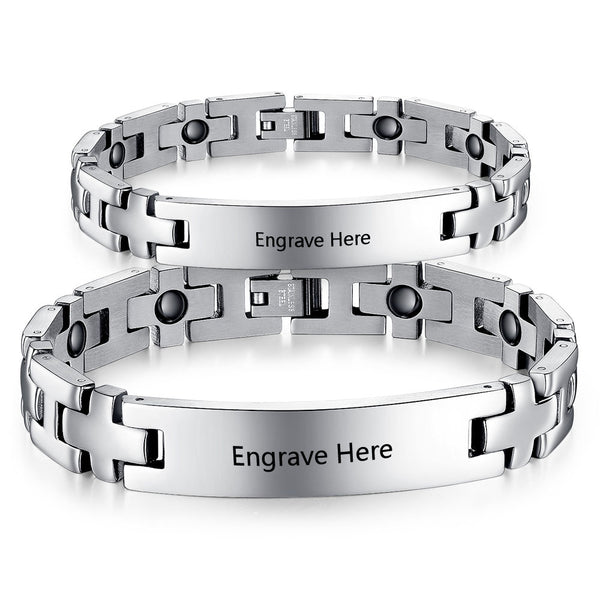 stainless steel id bracelet for couple