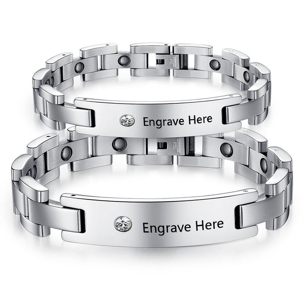Couple's Stainless Steel Bracelet with a Diamond