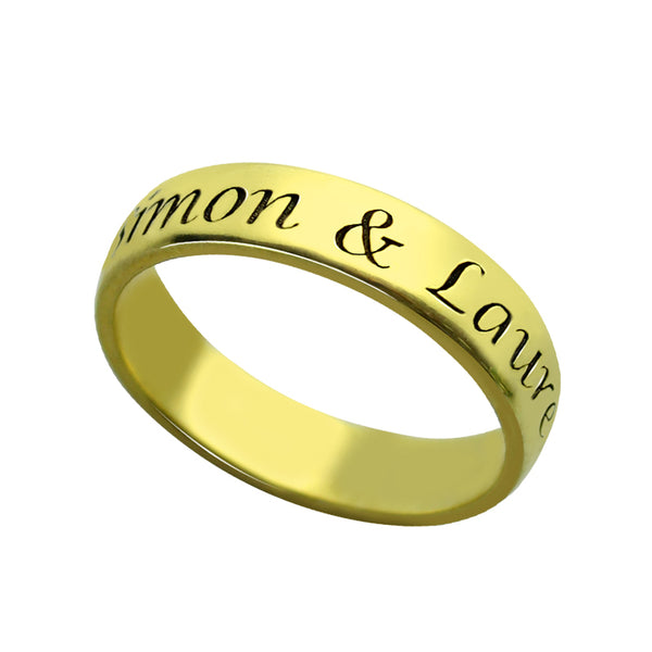 Engraved Name Ring with Gold Plating