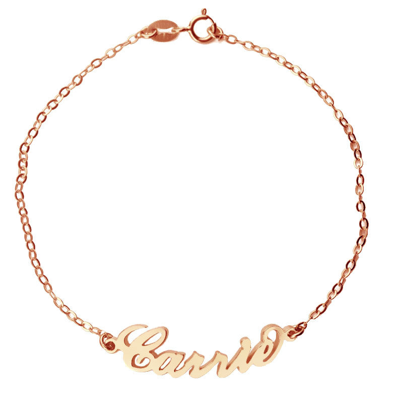 name bracelets - rose gold