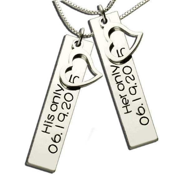 Double Bar Name Necklace in Sterling Silver