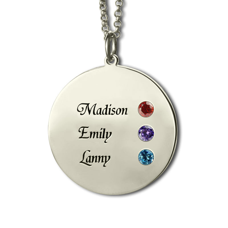 Sterling Silver Disc Necklace with Birthstones