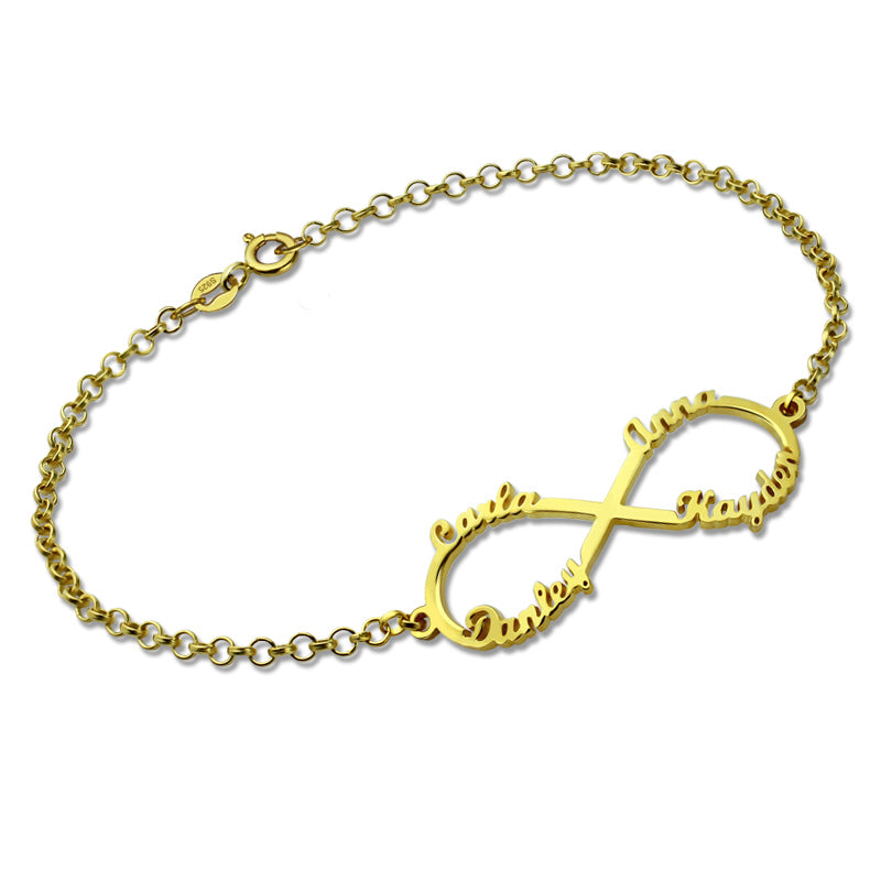 4 Names- Infinity Bracelet in Gold Plating