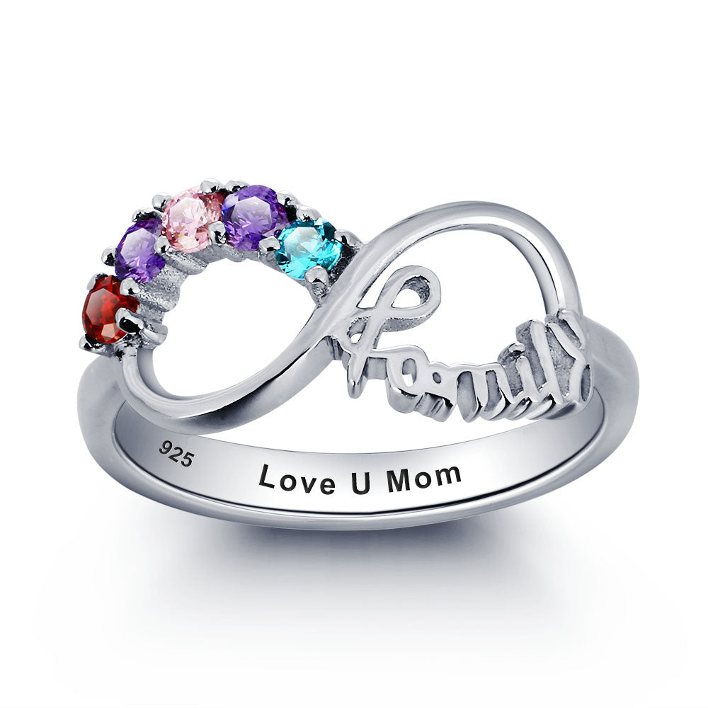 Infinity Name Ring with Birthstones for Mom
