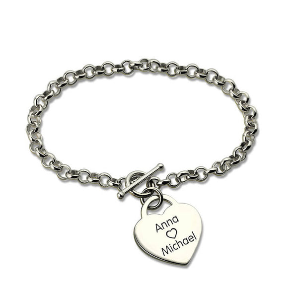 Heart Lock Bracelet with Engraving
