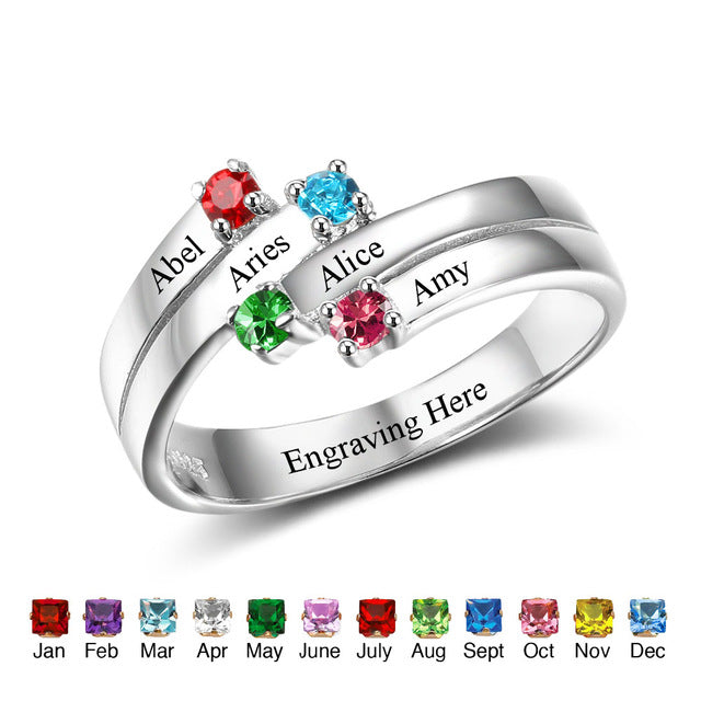 Mothers Ring with Birthstones - 4 Stones