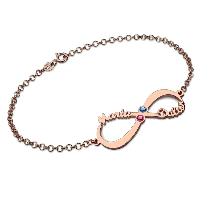 Two Stone Infinity Bracelet in Rose Gold Plating