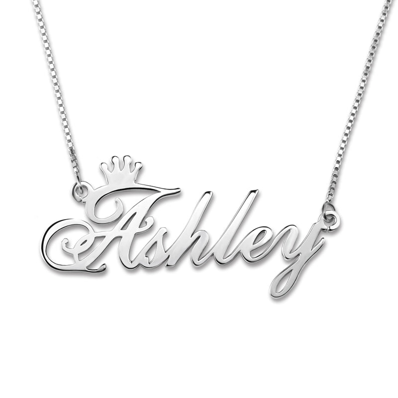 Customized Name Crown Necklace In 925 Sterling Silver