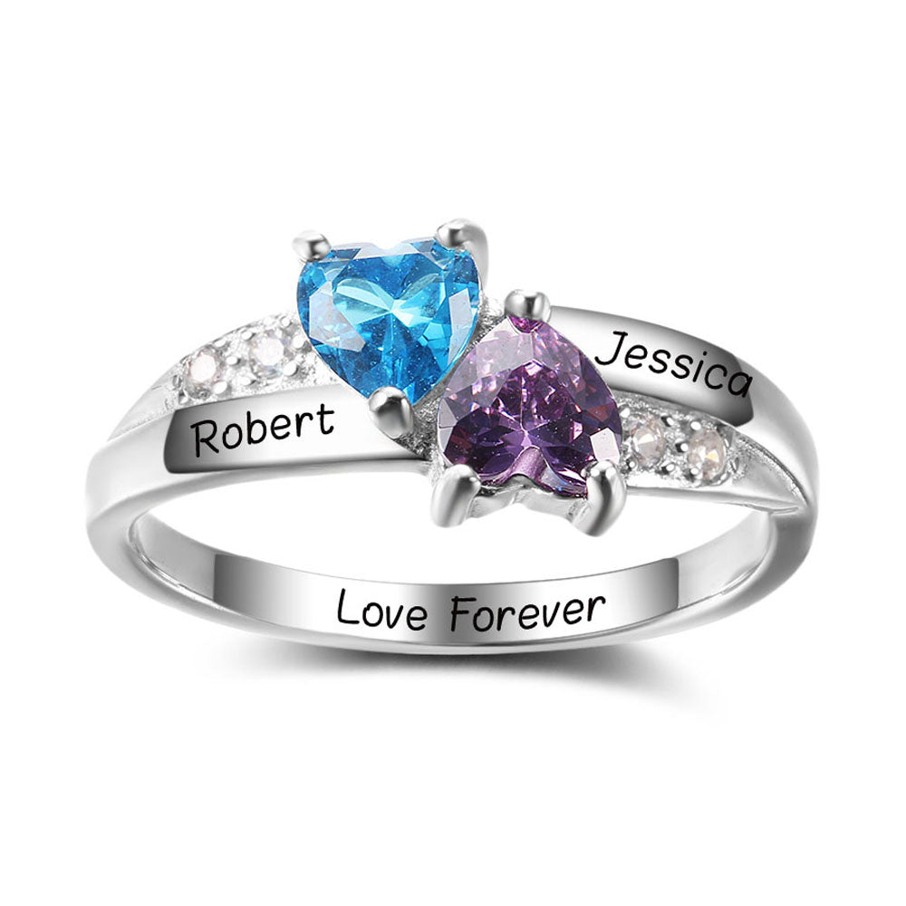 Mothers Ring with Birthstones- 2 Stones