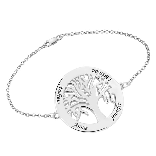 Sterling Silver Family Tree Bracelet - 4 Name